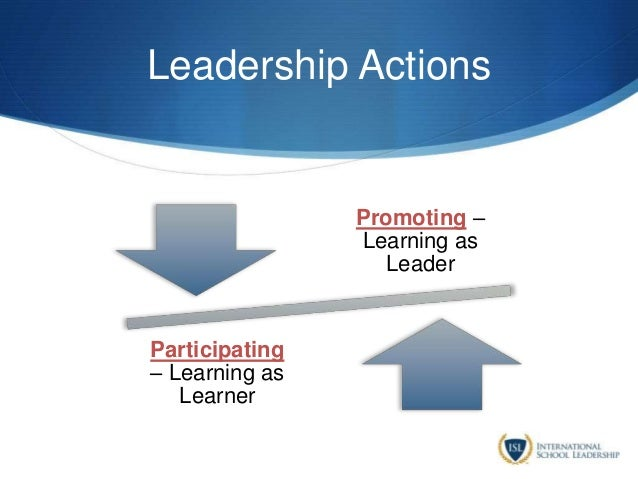 Leadership Actions Promoting – Learning as Leader Participating – Learning as Learner