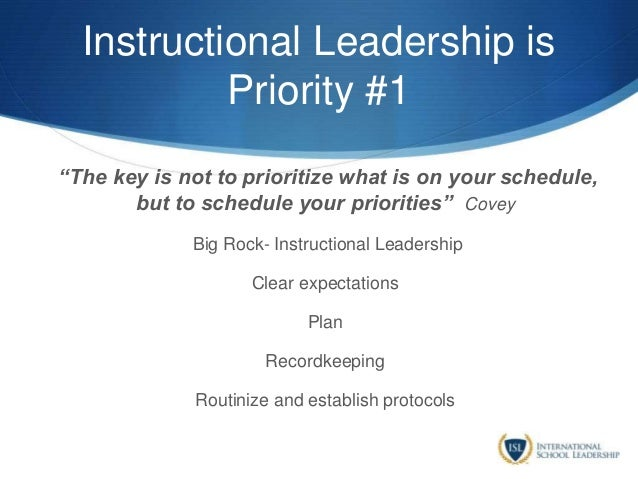 """Instructional Leadership is Priority #1 """"The key is not to prioritize what is on your schedule, but to schedule your prior..."""