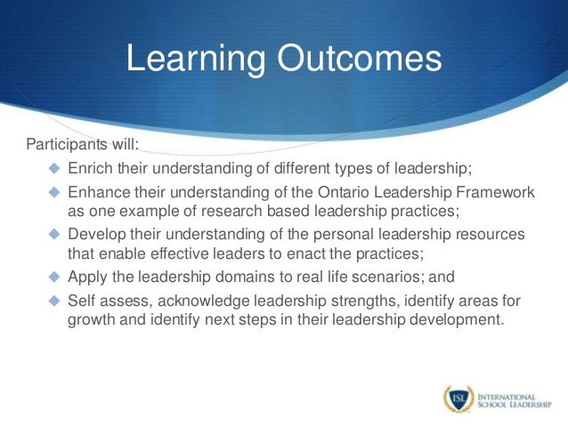 Learning Outcomes Participants will:  Enrich their understanding of different types of leadership;  Enhance their unders...