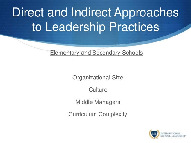 Direct and Indirect Approaches to Leadership Practices Elementary and Secondary Schools Organizational Size Culture Middle...