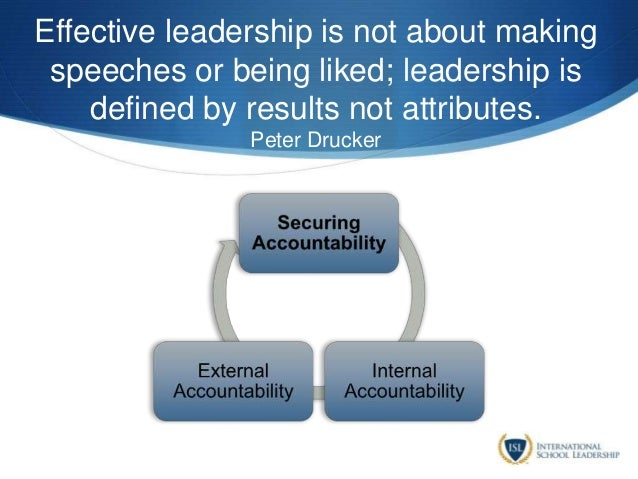 Effective leadership is not about making speeches or being liked; leadership is defined by results not attributes. Peter D...