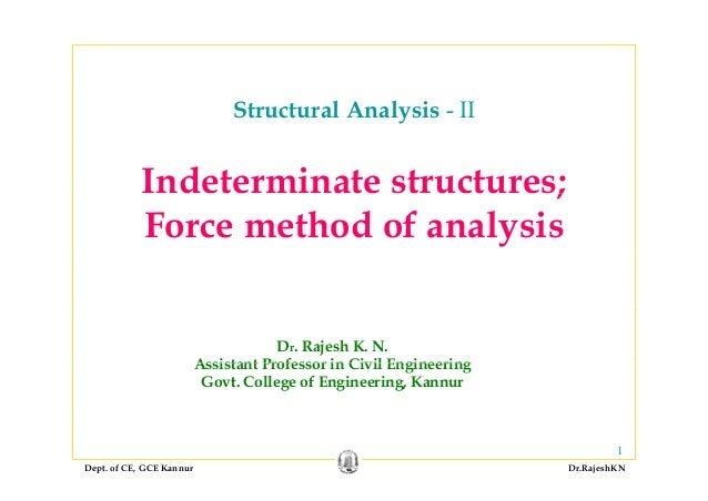 Structural Analysis - II Indeterminate structures;Indeterminate structures; Force method of analysis Dr. Rajesh K. N. Assi...
