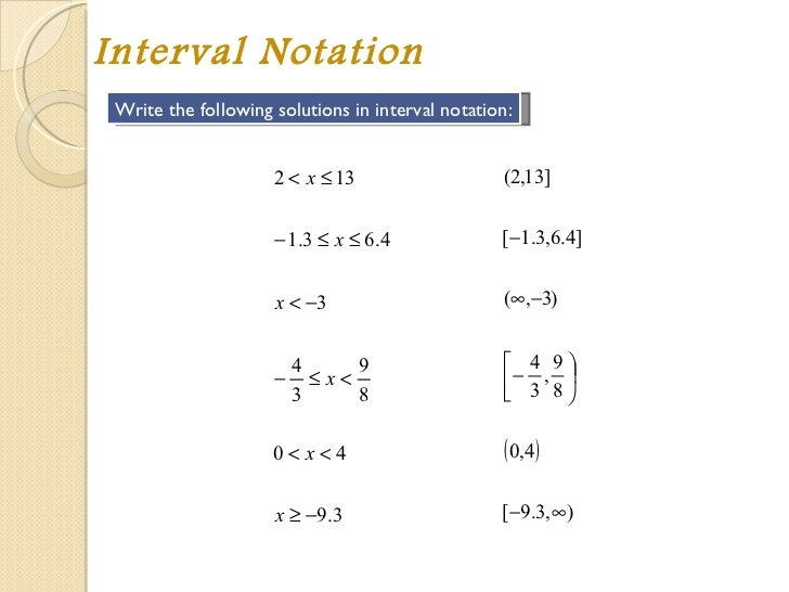 interval notation infinity