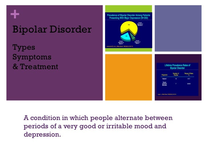 Bipolar Disorder A condition in which people alternate between periods of a very good or irritable mood and depression. Ty...