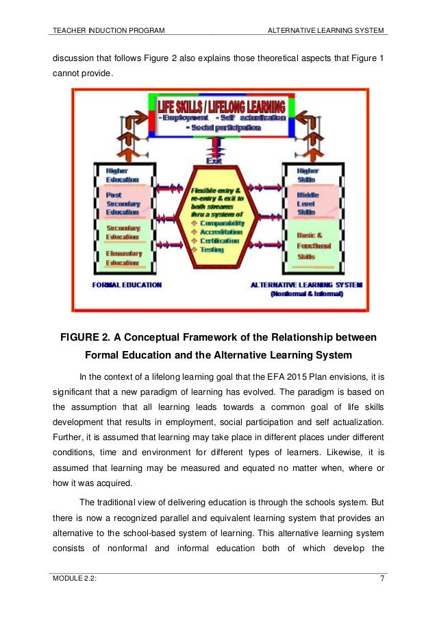 alternative learning system 705 1 Alternative learning system is a ladderized, modular non-formal education program in the philippines for dropouts in elementary and secondary schools, out-of-school youths, non-readers, working filipinos and even senior citizens.