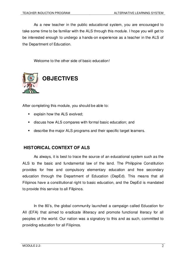 thesis alternative learning system Module 22 alternative learning system  but there is now a recognized parallel and equivalent learning system that provides an alternative to the school-based.