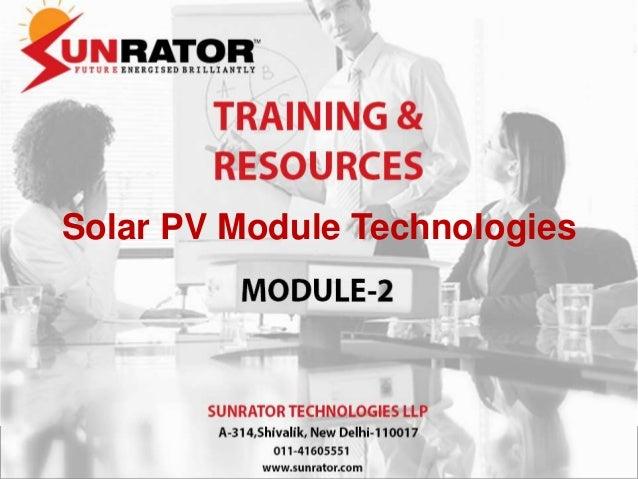 Solar PV Module Technologies