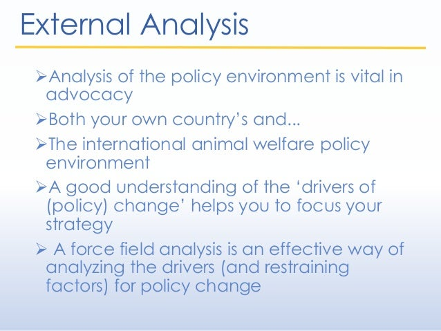 External Analysis Analysis of the policy environment is vital in advocacy Both your own country's and... The internatio...