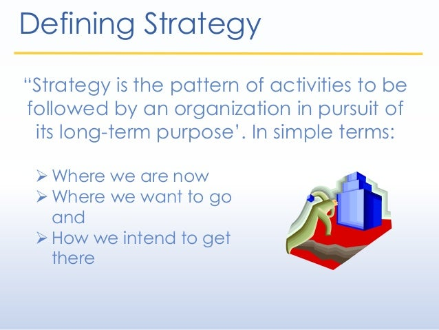 """Defining Strategy """"Strategy is the pattern of activities to be followed by an organization in pursuit of its long-term pur..."""