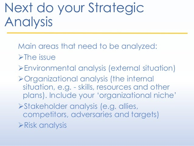 Next do your Strategic Analysis Main areas that need to be analyzed: The issue Environmental analysis (external situatio...