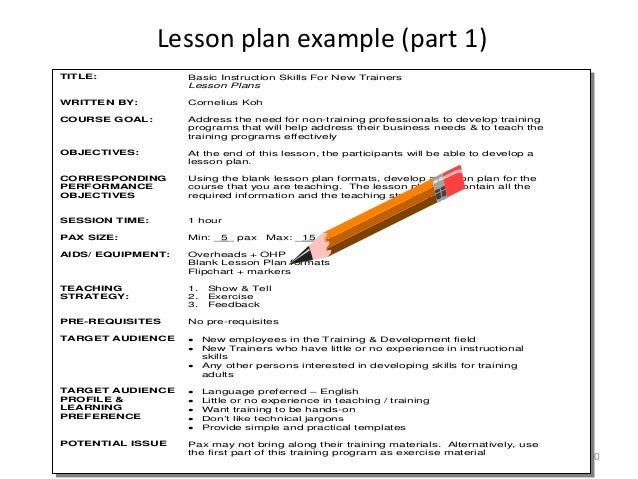 Module 2a Lesson Plan Basic Instructional Skills