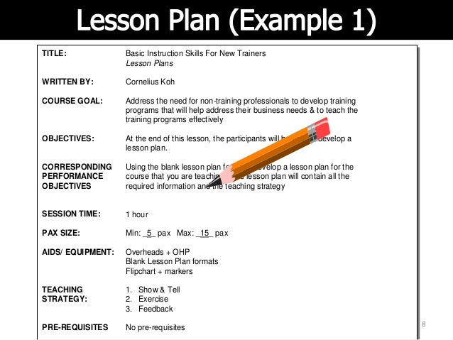 A Lesson Plan Basic Instructional Skills - Easy lesson plan template