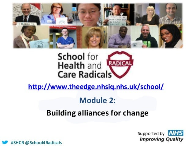 #SHCR @School4Radicals http://www.theedge.nhsiq.nhs.uk/school/ Module 2: Building alliances for change Supported by