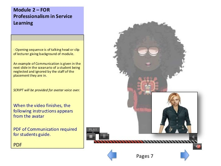 Module 2 – FORProfessionalism in ServiceLearningoOpening sequence is of talking head or clipof lecturer giving background ...