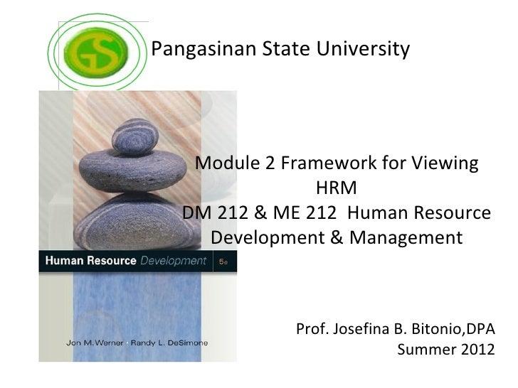 Pangasinan State University    Module 2 Framework for Viewing                HRM   DM 212 & ME 212 Human Resource     Deve...