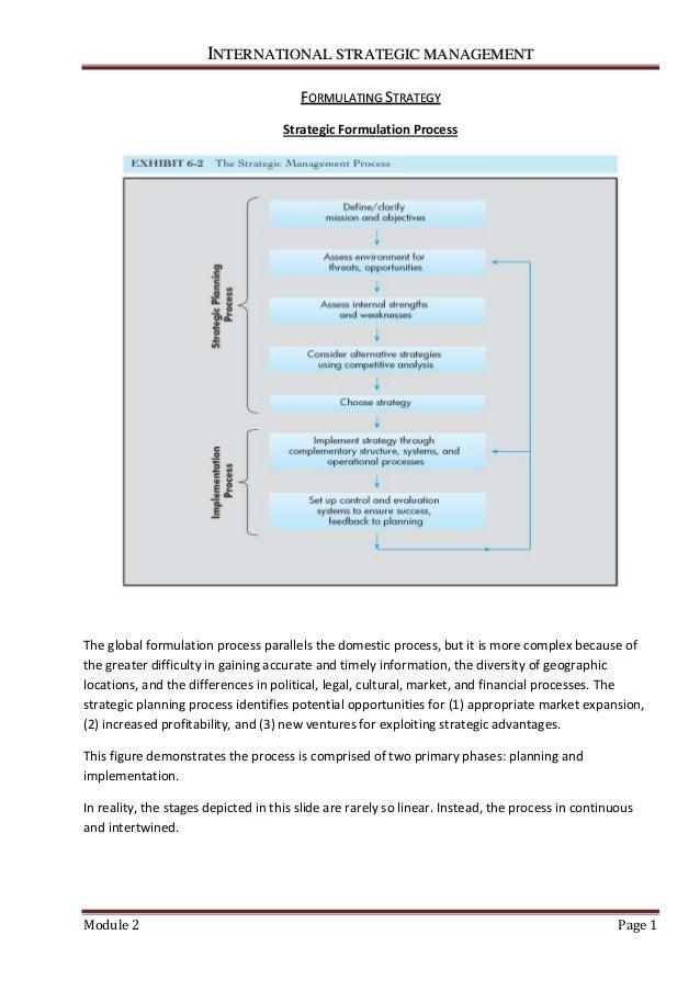 IINNTTEERRNNAATTIIOONNAALL SSTTRRAATTEEGGIICC MMAANNAAGGEEMMEENNTT Module 2 Page 1 FFOORRMMUULLAATTIINNGG SSTTRRAATTEEGGYY...