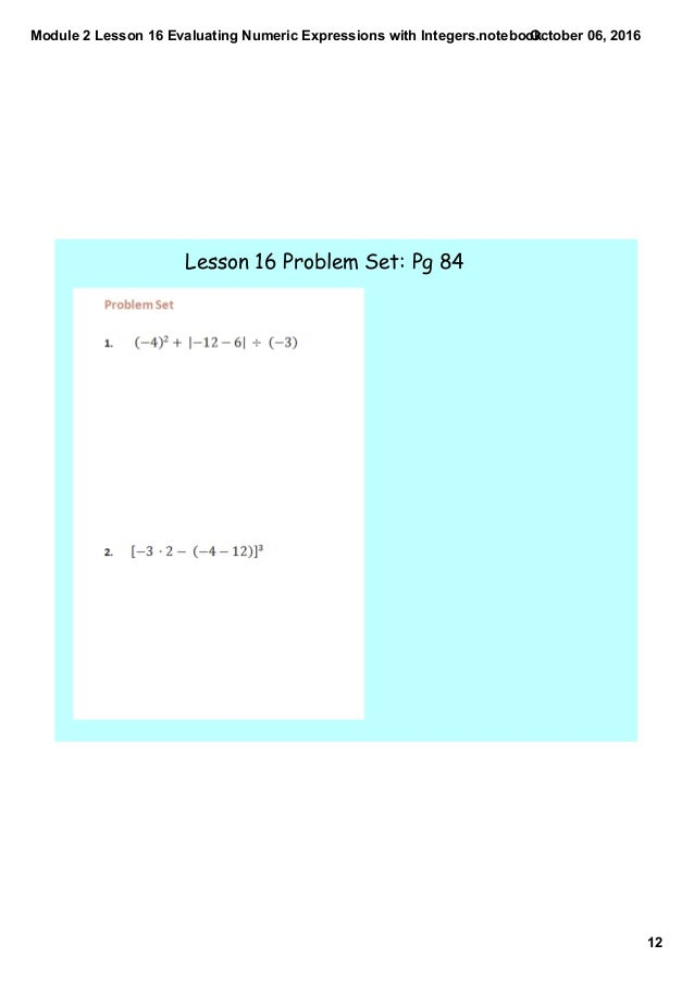 Module 2 lesson 16 evaluating numeric expressions with integers