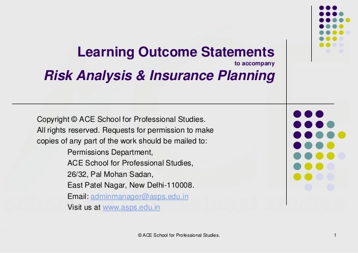 Learning Outcome Statements                                                                      to accompany Risk Analysi...