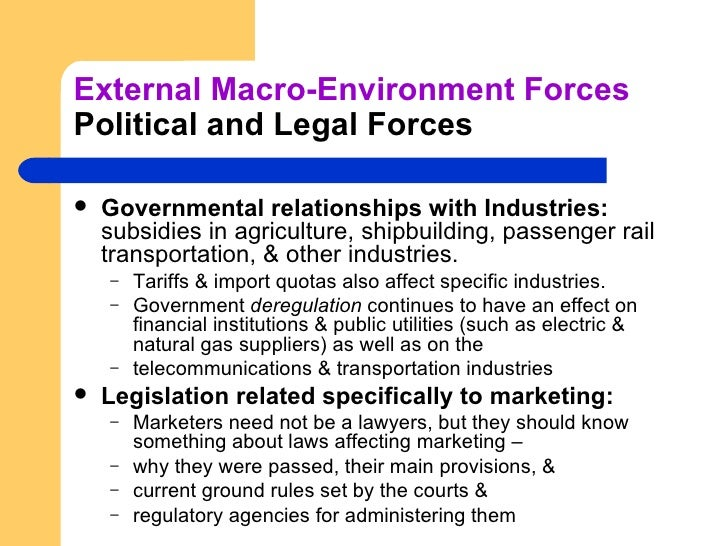 external macro environment factors Micro and macro marketing environment:- the marketing environment defines a framework of internal and external factors that are related to an organization and have.