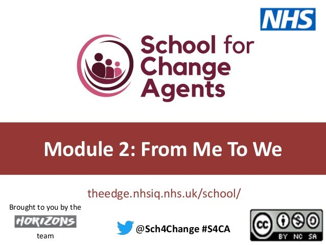 theedge.nhsiq.nhs.uk/school/ @Sch4Change #S4CA team Brought to you by the Module 2: From Me To We