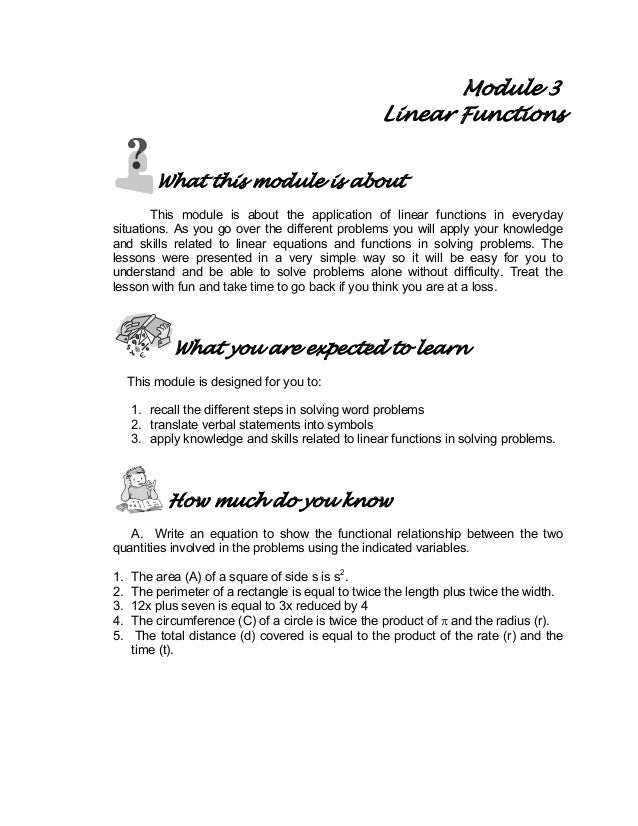 Module 3 Linear Functions What this module is about This module is about the application of linear functions in everyday s...