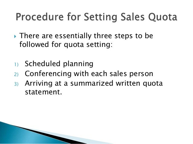Sales territory and management of sales quota