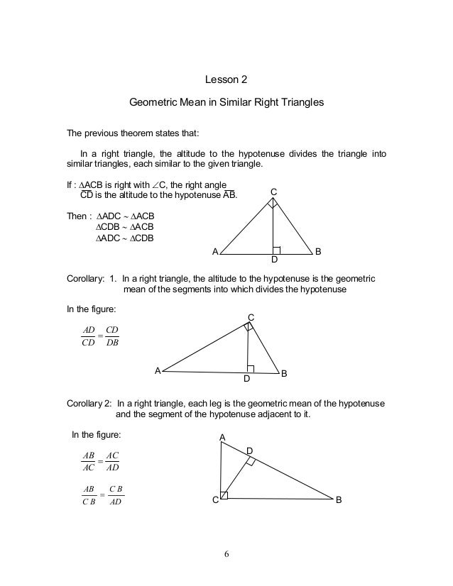 Geometric Mean Leg Theorem Photo Album Reikian – Similarity in Right Triangles Worksheet