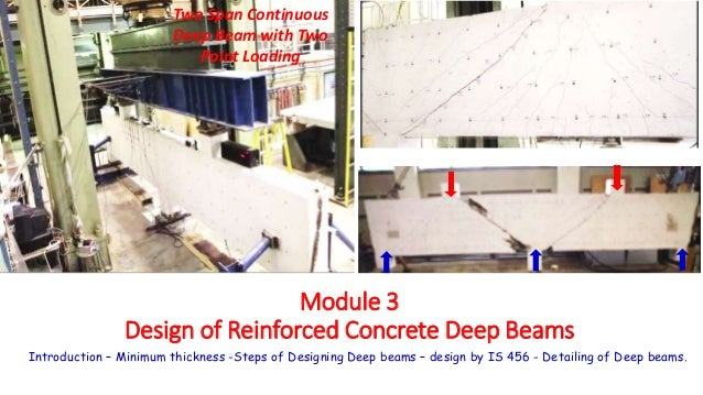 Module 3 Design of Reinforced Concrete Deep Beams Introduction – Minimum thickness -Steps of Designing Deep beams – design...