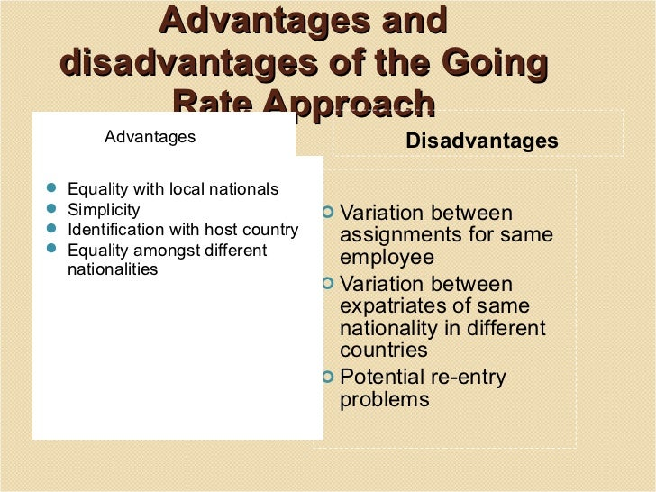 Advantages and disadvantages of the going rate approach