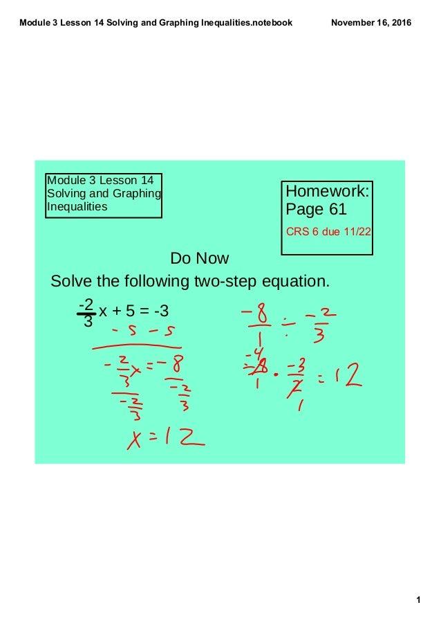 Module3Lesson14SolvingandGraphingInequalities.notebook 1 November16,2016 Module 3 Lesson 14 Solving and Graphing ...
