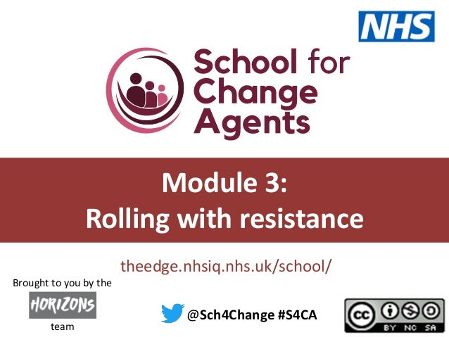 #S4CA @sch4change theedge.nhsiq.nhs.uk/school/ Module 3: Rolling with resistance @Sch4Change #S4CA team Brought to you by ...