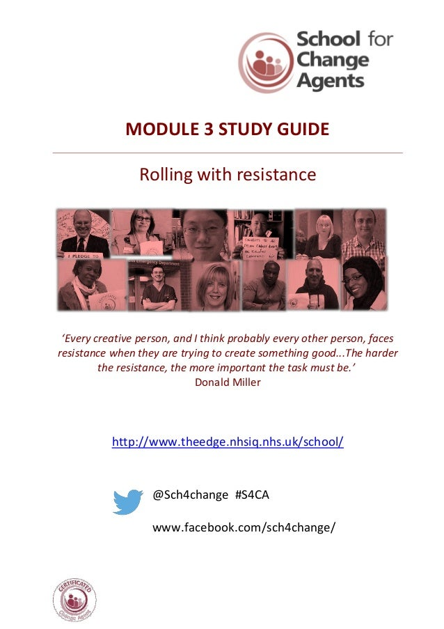MODULE 3 STUDY GUIDE Rolling with resistance 'Every creative person, and I think probably every other person, faces resist...