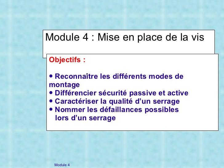 Module 4 : Mise en place de la vis <ul><li>Objectifs : </li></ul><ul><li>Reconnaître les différents modes de montage </li>...