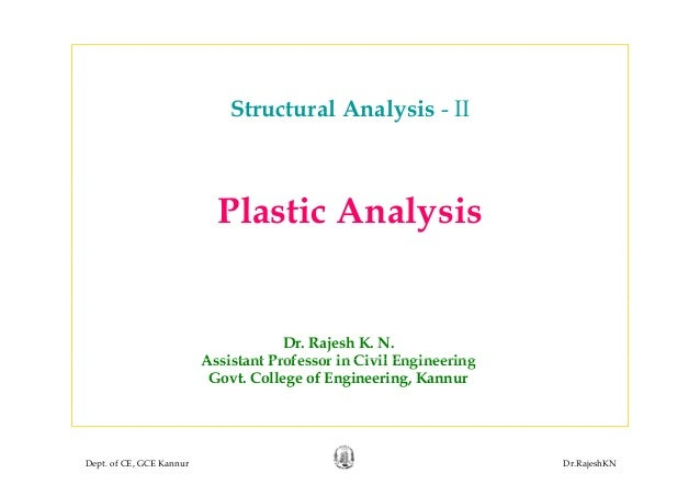 Structural Analysis - II Plastic Analysis Dr. Rajesh K. N. Assistant Professor in Civil EngineeringAssistant Professor in ...