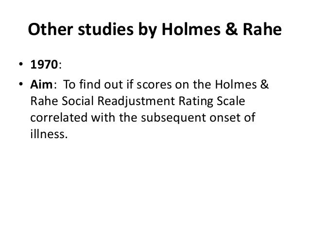 Holmes and Rahe stress scale - MCCC