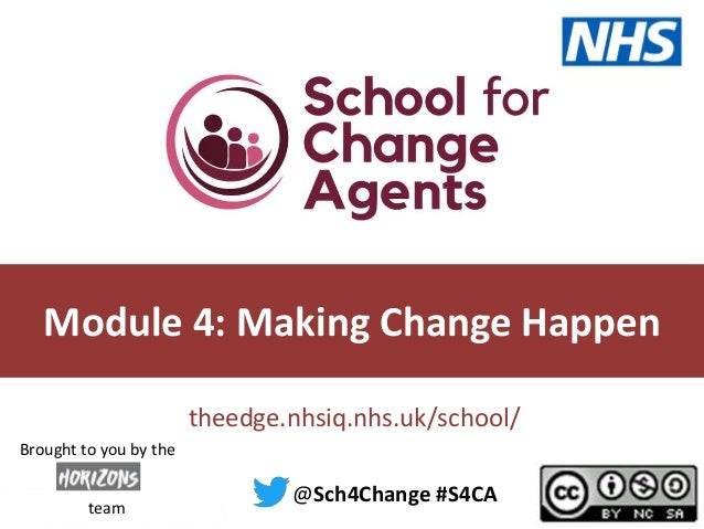 theedge.nhsiq.nhs.uk/school/ Module 4: Making Change Happen @Sch4Change #S4CA team Brought to you by the