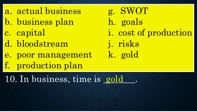 business plan on gold