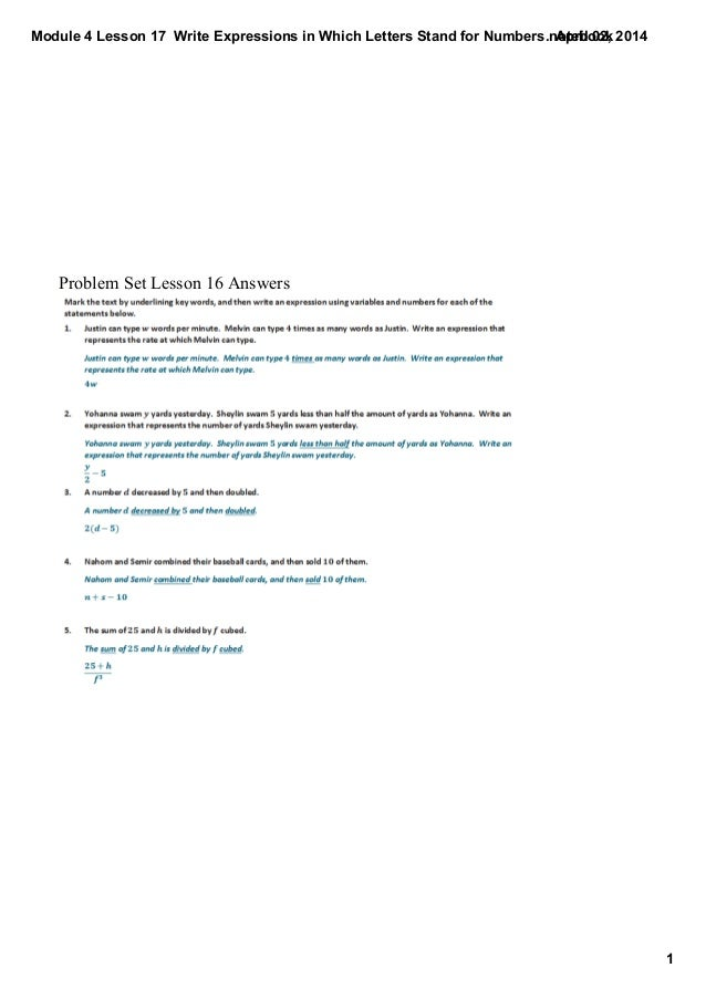 Module 4 Lesson 17  Write Expressions in Which Letters Stand for Numbers.notebook 1 April 02, 2014 Problem Set Lesson 16 A...