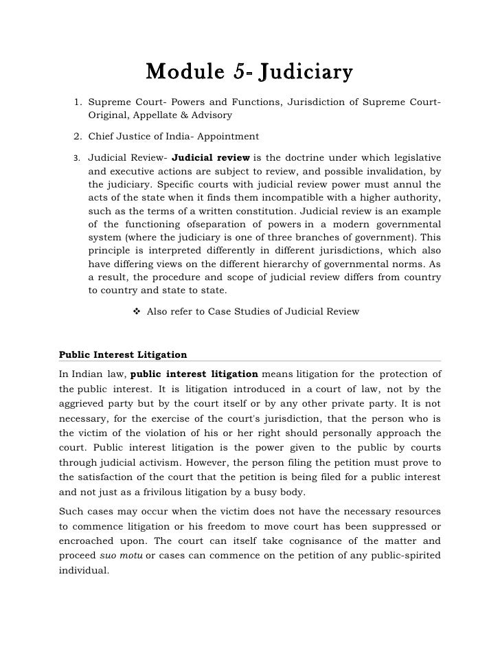 Module 5- Judiciary   1. Supreme Court- Powers and Functions, Jurisdiction of Supreme Court-      Original, Appellate & Ad...