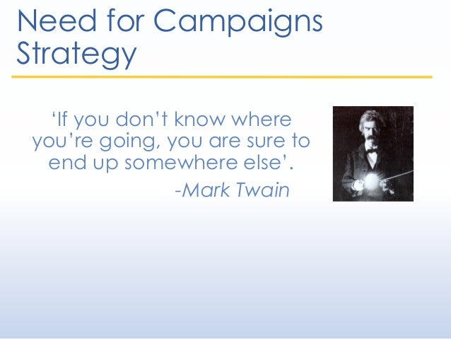 Need for Campaigns Strategy 'If you don't know where you're going, you are sure to end up somewhere else'. -Mark Twain