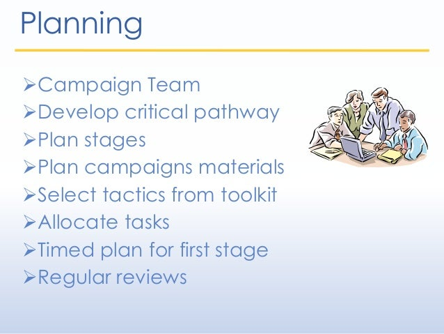 Planning Campaign Team Develop critical pathway Plan stages Plan campaigns materials Select tactics from toolkit All...