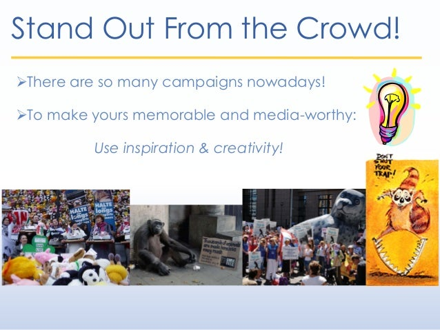 Stand Out From the Crowd! There are so many campaigns nowadays! To make yours memorable and media-worthy: Use inspiratio...
