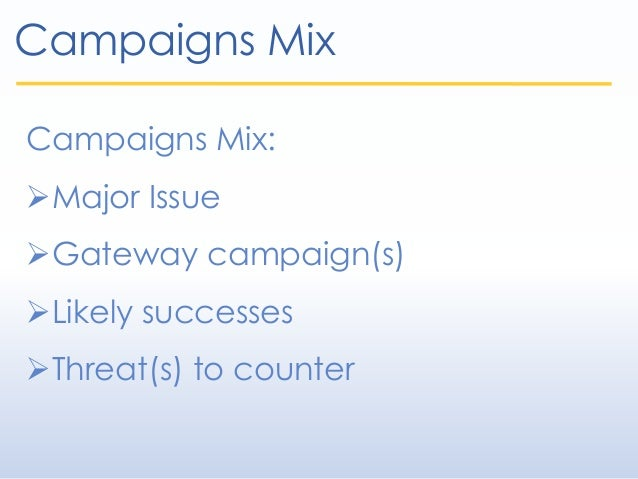 Campaigns Mix Campaigns Mix: Major Issue Gateway campaign(s) Likely successes Threat(s) to counter