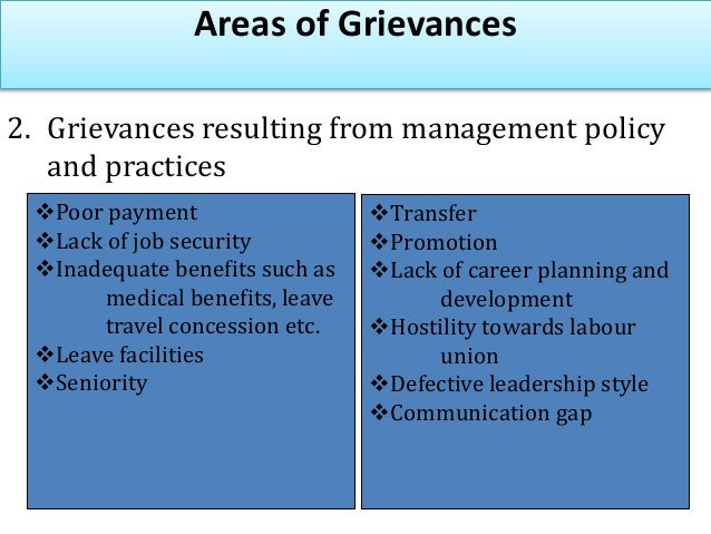 Areas of Grievances 3. Grievances resulting from alleged violations of • Violation of collective bargaining agreement • Vi...