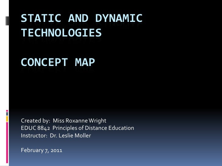 Static and dynamictechnologiesconcept map<br />Created by:  Miss Roxanne Wright<br />EDUC 8842  Principles of Distance Edu...