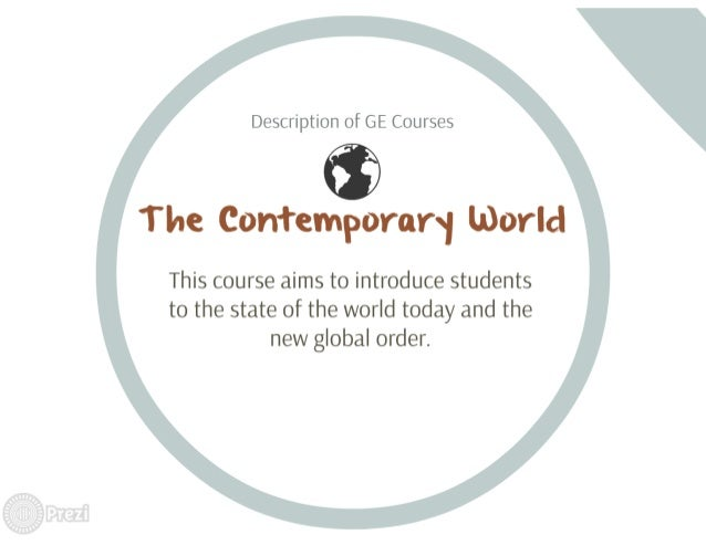 Description of GE Courses  O  T he Contemporarsi world                   This course aims to introduce students to the sta...
