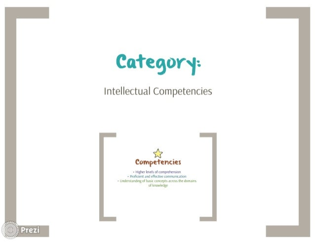 Category-.   Intellectual Competencies  *  Compefencies  - Higher levels of comprehension - Proficient and effective commun...