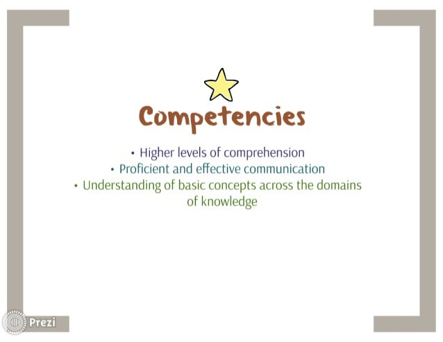 *  Compefencies  - Higher levels of comprehension - Proficient and effective communication - Understanding of basic concept...