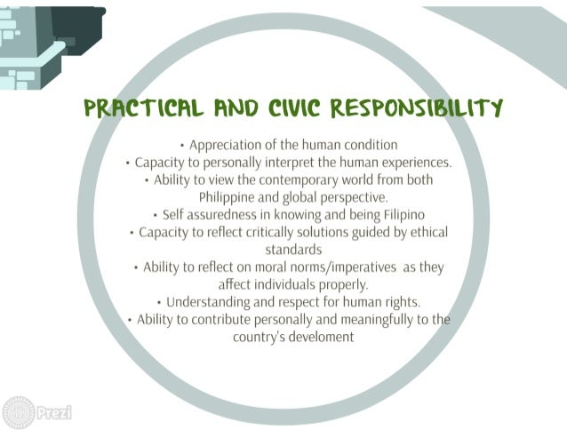TICHL HND CIVIC KESPONS  - Appreciation of the human condition - Capacity to personally interpret the human experiences.  ...