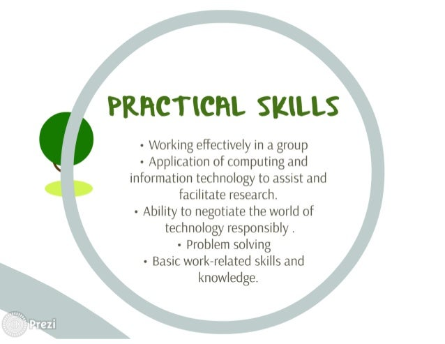 PKHCTICHL SKILLS  - Working effectively in a group - Application of computing and information technology to assist and fac...